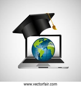 online education concept globe map graphic