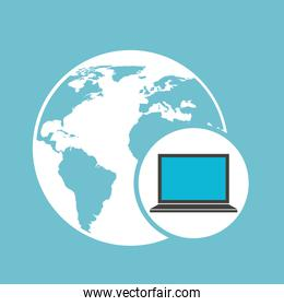 social media laptop with global map