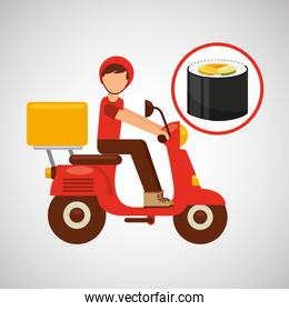 delivery boy ride motorcycle japanese cuisine