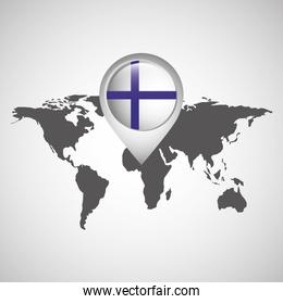 world map with pointer flag finland