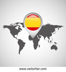 world map with pointer flag spain