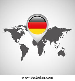 world map with pointer flag germany