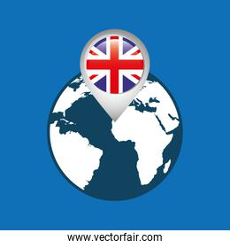 world map with pointer flag england over blue
