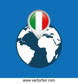 world map with pointer location  flag italy