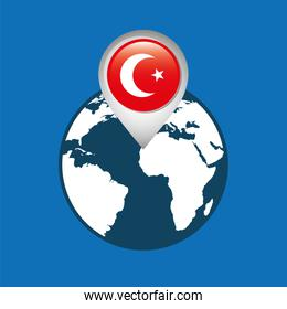 world map with pointer flag turkey over blue