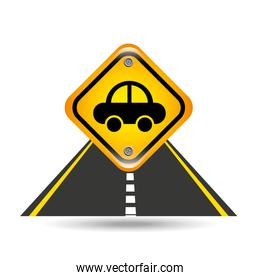 vehicle yellow road street sign