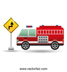 fire truck with curve road sign