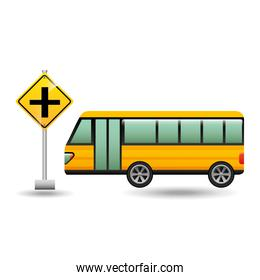 bus yellow with crossroad