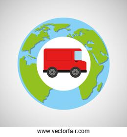 globe world red delivery van logistic