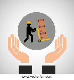 hand delivery service man carrying cardboard box graphic