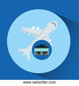 warehouse building airplane transport