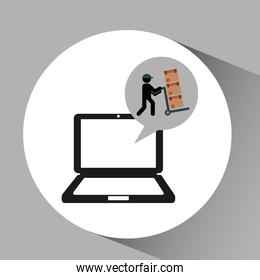 online delivery concept delivery man pushing boxes