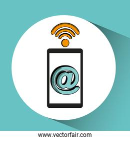 hand with mobile device wifi mail
