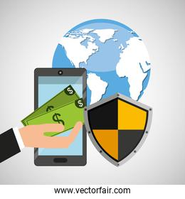 smartphone money banking safe shield protection