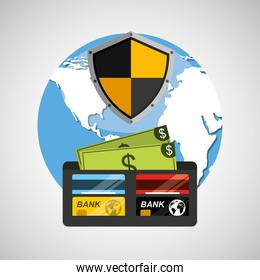wallet money banking safe shield protection