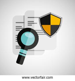 document search shield protection illustration