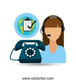 call centre faceless woman working globe check list