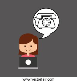 support assitance concept girl with helping telephone