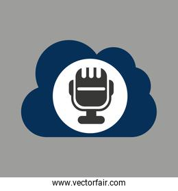 music design silhouette man and microphone