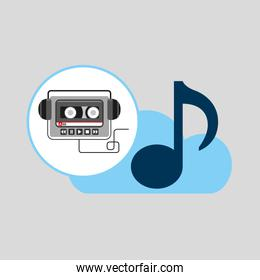 hand hold note music cloud and audio cassette headphones