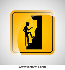 climbing person sign sport extreme design