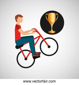 cyclist man trophy sport design