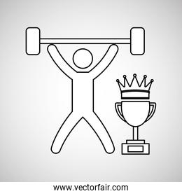 silhouette person weight lifting winner sport