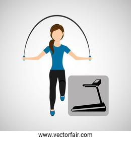 sport woman jumping rope and walking machine