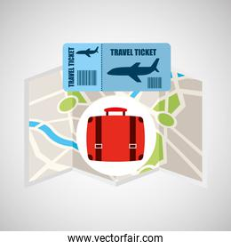 airline ticket map travel suitcase