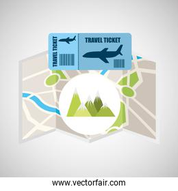 airline ticket map travel mountains landscape