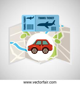 airline ticket map travel red car