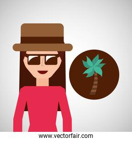 toursit female with hat sunglasses and palm tree