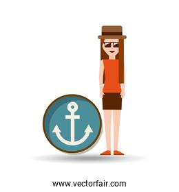 vacation woman anchor summer