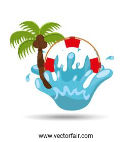life buoy water splash palm summer vacation