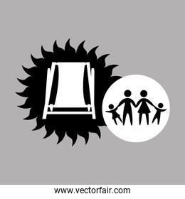 silhouette family vacation chair break beach