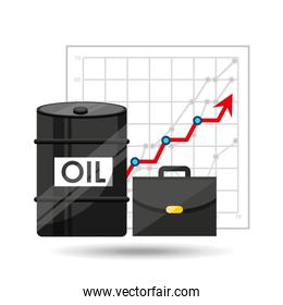 oil and petroleum industry increasing graph business over white