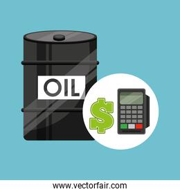 barrel oil with dataphone in blue background