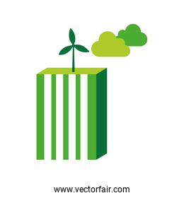 ecological city buildings isolated icon design