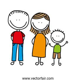 happy family drawing isolated icon design