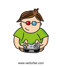 gamer playin video game isolated icon design