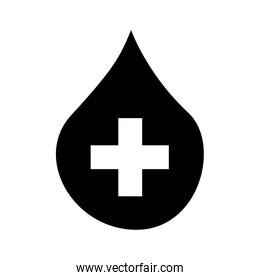 drop blood with cross isolated icon design