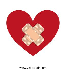 heart with bandages isolated icon design