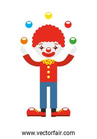 juggler clown with balls isolated icon design
