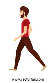 young man walking isolated icon design