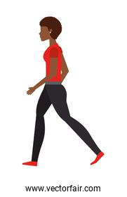 young woman walking isolated icon design