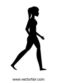 silhouette young woman walking isolated icon design