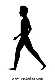 silhouette  young man walking isolated icon design