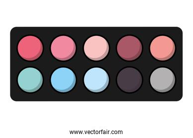 shadows colors set makeup product isolated icon design