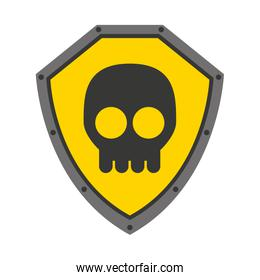 security shield with skull isolated icon