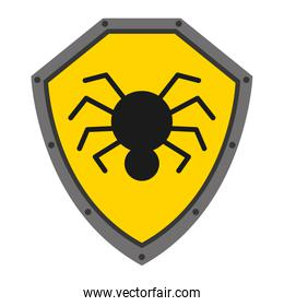 security shield with spider isolated icon design